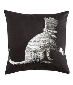 H Sequin Kitty Pillow