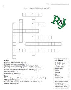 romeo and juliet vocab crossword prologue 1 1 r j pinterest classroom teacher. Black Bedroom Furniture Sets. Home Design Ideas