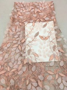 Great site for lots of unique fabrics - Produkty podobne do heavy embroidered lace fabric with flowers, peach pink lace fabric with leaves, tulle lace fabric with petals w Etsy Bridal Lace Fabric, Embroidered Lace Fabric, Tulle Lace, Pink Lace, Beaded Embroidery, Embroidery Designs, Sequin Fabric, Lace Flowers, Fabric Flowers