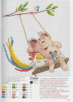 ru / Фото - Rico 77 - - Pig Chicken and Mouse on a Swing Cross Stitch Pattern Cross Stitch For Kids, Cross Stitch Boards, Cross Stitch Needles, Cross Stitch Baby, Cross Stitch Animals, Cross Stitching, Cross Stitch Embroidery, Embroidery Patterns, Cross Stitch Designs
