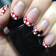 Red french manicure with white polka dots and black bow... SOO very cute!! #purefection