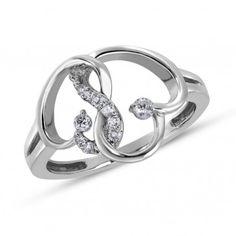 Forever Heart, 10K White Gold I2 Diamond Fashion Ring, 1/8 ctw