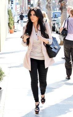 Chanel Jumbo XL Quilted Flap Bag, Marni Platform sandals, Zara blazer, THEORY Cowl Neck Blouse, LnA Elastic Strap Legging,