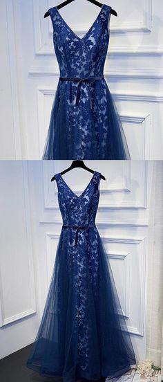 dark blue v neck prom dresses, lace up party dress with sash, elegant lace evening dress