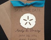 Sand Dollar Save the Date for Beach Theme Wedding on Kraft Paper and Blue Ribbon, Set of 8
