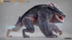 """This is Dozer, a creature I had the privilege of modeling for Animation Mentor. It's a character from """"The Crew"""" project. CREDITS: - Creature design and Art Direction by Dei G. - Modeling by Ander Liza. - Texturing and shading by Michel Monster Concept Art, Alien Concept Art, Creature Concept Art, Fantasy Monster, Monster Art, Creature Design, Mythical Creatures Art, Alien Creatures, Magical Creatures"""