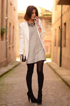extra-long blazer plus a t-shirt dress and tights is hot. I love the white.