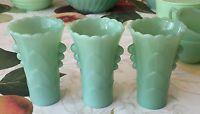 3 Fire King Jadeite Art Deco Table Vases ~ Jadite Green Milk Glass ~ Jade-ite