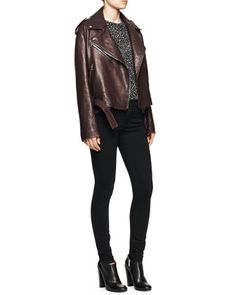 Shiny Leather Moto Jacket, Polka Dot Tissue Top & Ultra-Skinny Ankle Jeans by Proenza Schouler at Bergdorf Goodman.