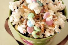 Easter Bunny Bait..popcorn, M&Ms, melted white chocolate and pretzels