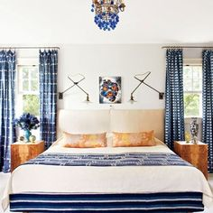 Blue and White Bedroom Design. Blue and White Bedroom Design. Cool Blue and White Bedroom Design Ideas 30 Cozy Bedroom, White Bedroom, Home Decor Bedroom, Bedroom Ideas, Bedroom Curtains, White Rooms, Bedroom Designs, Bedroom Table, Bedroom Retreat
