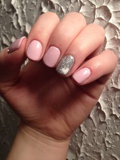 Light pink nails with silver accent and white heart :)