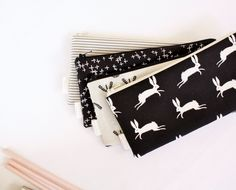 Zipper Pouch, Pencil Pouch, Pencil Case, Black and White, College, Kids, School Supplies, Teens, Women, Organize by AppleWhite on Etsy