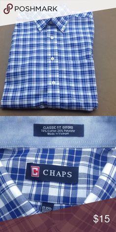 Men's Chaps L/S button down Long sleeve Chaps button down!! Royal/white plaid!  Cotton/poly blend!!! Chaps Shirts Dress Shirts