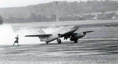 Me 262 prototype, taking off in flight test. Notice the tail wheel instead of the front wheel configuration which became standard in later prototypes and serial planes