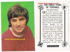 George Best, Manchester United trade card, 1960s, issued with a British comic  BUY IT HERE (insured postage included) for less than £50:   https://www.paypal.me/rarecards/48.92 #George Best hall of fame soccer legend rookie Great Stars of Football cards trade card Manchester United Man Utd U Northern Ireland D C Thom#George Best#Man Utd#Northern ireland FA#Man U#Best#Red Devils#football trade card