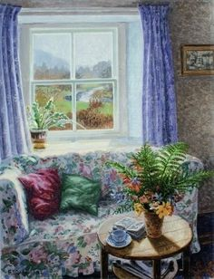 Late Summer Flowers by Stephen Darbishire Summer Painting, Light Painting, Window View, Window Art, Paintings I Love, Beautiful Paintings, Interior Paint, Interior And Exterior, Late Summer Flowers