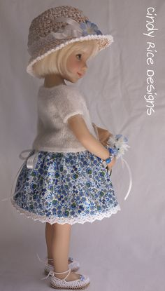 """""""My 'Blue'-ming Garden"""", a hand made (hand knit, hand embroidered, crocheted) ensemble for Effner's Little Darling dolls, cindyricedesigns.com ."""