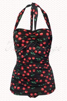 Esther Williams Swimwear - classic fifties Badeanzug Cherry Black