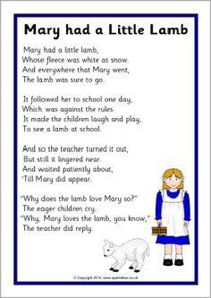 Mary had a Little Lamb rhyme sheet (SB11030) - SparkleBox