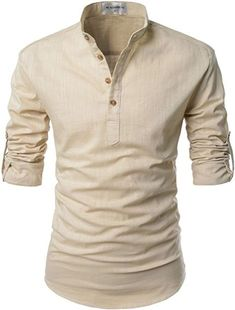 c80f2632c1 NEARKIN Beloved Men Henley Neck Long Sleeve Daily Look Linen Shirts at  Amazon Men s Clothing store