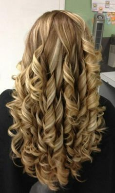 Dirty blonde curls- beautiful with her highlights... Needs to fun her fingers through it a little so the curls aren't so