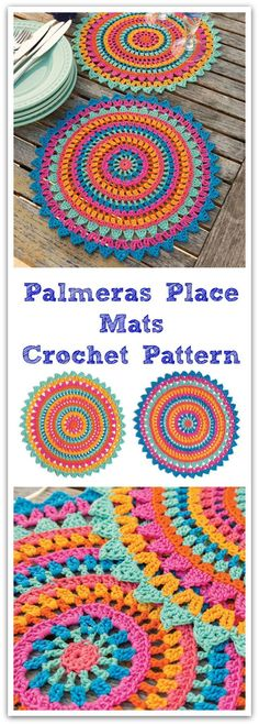 Set the table in style! These dramatic place mats are stitched in a rainbow of bold colors that will be a lovely addition to any table. #ad #affiliate #crochet #pattern