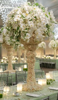White Wedding Centerpiece Option #2 - Inspirations from the Preston Bailey Design Team