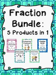 Fractions Bundle!  Fractions can be difficult for many students, but this fraction product can help.  It includes 5 of my fraction products bundled together into a 105 page product!  ALL OF THE FILES IN THIS FRACTION PRODUCT ARE PDFs.  The following products are included:   Fractions: Understanding 1/2 In order to be successful with the fraction standards in Common Core, students MUST have a solid understanding of ½.