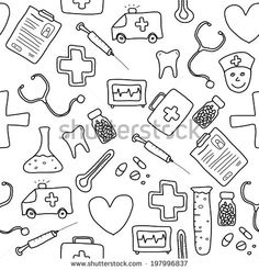 Imagens, fotos stock e vetores similares de Health care and medicine elements set in cartoon style. Nurse Drawing, Nurse Aesthetic, Medical Background, Stress And Depression, Doodles, Grilling Gifts, Losing A Loved One, Nursing Students, Nursing Schools