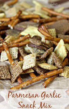 Parmesan Garlic Snack Mix ~ Loaded with Chex, Pretzels and Rye Chips! Parmesan Garlic Snack Mix ~ Loaded with Chex, Pretzels and Rye Chips! Puppy Chow Recipes, Snack Mix Recipes, Recipes Appetizers And Snacks, Yummy Snacks, Cooking Recipes, Yummy Food, Snack Mixes, Chex Recipes, Snacks Homemade