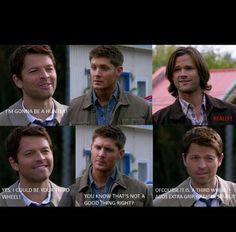 Sam, Dean & Cas <3 lol. Cas cracks me up!