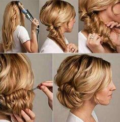 Hair Styles for Long Hair: Fishtail Braid Bun