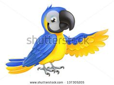 A Blue And Yellow Macaw Parrot Pointing Or Showing Something With ...