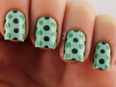 Polka Dot Nails #Green Her Favorite Color (: