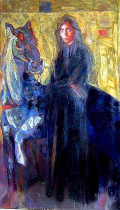 Artodyssey: Smaragda Papoulia - Emerald Papoulia-Vasilakoudi - Παπούλια Σμαράγδα Painter Artist, Greek Art, Painting Lessons, Stage Design, Art Studies, Equestrian, Contemporary Art, Horses, Fine Art