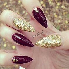 Burgundy claws with gold bling!