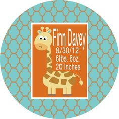 Personalized Birth Announcement Melamine Plate by Pink Wasabi Ink