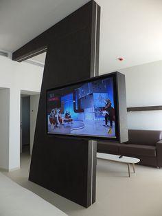 Gilberto Mancini Special thanks to Brocanelli Srl Kerlite Materica, Bianco th. Living Room Partition, Room Partition Designs, Living Room Tv, Tv Cabinet Design, Tv Wall Design, Design Case, Home Decor Furniture, Furniture Design, Tv Stand Room Divider