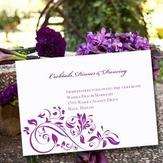 "Wedding Reception Invitation Purple ""Flourish"" | Printable Template | Editable Word.doc | Instant Download |  ALL COLORS | DIY  You Print"