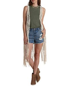 Not sure how I feel about this, but I think it's kinda cool. Crochet Fringe Duster Vest: Charlotte Russe