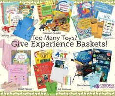 Too many toys? Try an experience basket! Pair a fun book along with some gifts to create a fun experience they won't forget! #giftideas #giftsforkids #childhoodunplugged #booksforkids Planets Activities, Book Activities, Toddler Activities, Book Baskets, Space Books, Picture Puzzles, Christmas Graphics, Book Nooks, I Love Books