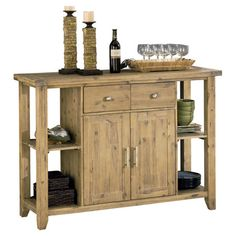 Showcasing a lovely neutral palette and acacia wood design, this eye-catching sideboard lends a rustic touch to your dining room or parlor. ...