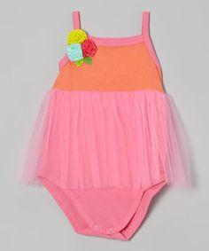 Light Fuchsia Strap Tulle Bodysuit - Infant by Victoria Kids #zulily #zulilyfinds