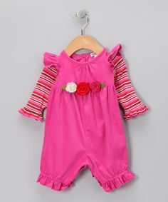 Take a look at this Hot Pink Candy Rose Corduroy Playsuit - Infant on zulily today!