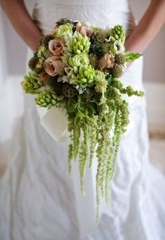 Amaranthus, vintage roses, chincherinchee, scabious pods and succulents  @Claire Hoyle this is the amaranthus, Emma x