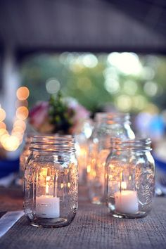 mason jar diy for centerpieces | Simple DIY Centerpieces :: Mason Jars and Votive ... | My Rocking Wed ...