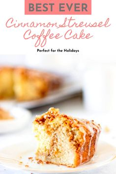 This is the easiest Coffee Cake recipe out there! Laced with a cinnamon streusel and topped with a simple glaze, it's perfect for breakfast! I originally found this Cinnamon Streusel Coffee Cake recipe in a magazine years ago. After a couple of tweaks I've made it the best tasting and easiest coffee cake ever. Made with graham crackers, boxed cake mix, and cinnamon-sugar, you can have this recipe done in under an hour! #Christmas #cinnamon #cake #coffeecake #breakfast #dessert Best Christmas Desserts, Spring Desserts, Fun Desserts, Cinnamon Streusel Coffee Cake, Cinnamon Cake, Sweet Breakfast, Breakfast Dessert, Breakfast Recipes, Boxed Cake
