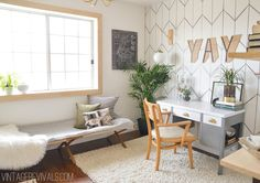 Alicia's Office Reveal - Vintage Revivals. I love the natural wood window frame, the Sharpie wallpaper, the white and gray and wood color combination, and the brass accents. Those DIY pendant lights she makes are growing on me ...