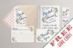 Printable Bridal Shower Invitation Party Pack - Bridal Shower Party Package (Blush Pink & Navy)